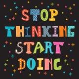 Smetta di pensare fare di inizio Citazione ispiratrice Taglio motivazionale illustrazione di stock