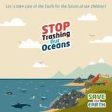 Smetta di trashing i nostri oceani Fotografie Stock Libere da Diritti