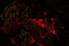 Smeulende houtskool Royalty-vrije Stock Afbeeldingen