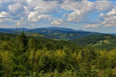 Landscape with Smida village in the Apuseni mountains Royalty Free Stock Images