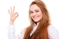 Smiey woman showing ok sign Royalty Free Stock Photos