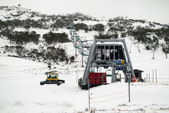 Smiggins Hole snow groomer ready for this weekends snow fall. Smiggins Hole, Perisher Valley - 23 June 2016: Smiggins snow groomers are getting the mountain Stock Photography