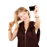 Smiing girl doing picture oneself Royalty Free Stock Photo