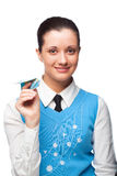 Smiing girl with paper plane Royalty Free Stock Photo