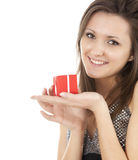 Smiing girl with red gift box Royalty Free Stock Photo