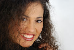 Smile. Sheyla full image of face to left of frame Royalty Free Stock Photography