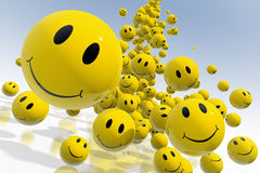 Smile. Falling emoticons.  3D rendered illustration Stock Photos