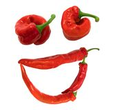 Smile. Grin composed of red chili peppers. Isolated on white background Royalty Free Stock Image