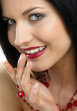 Smile. Portrait of lady with jewels royalty free stock photography