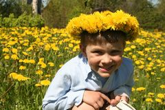 Smile. A smiling child in a meadow of dandelions stock photo