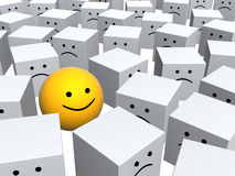 Smile. Bright yellow sphere with smile in row of grey boxes royalty free illustration