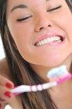 Smile. Woman tooth brush teeth white smile Stock Photography