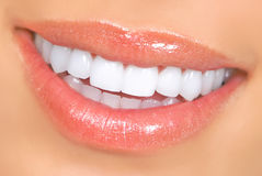 Smile. Woman smile and teeth. Close up Stock Photography