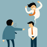 Smile but angry. Businessman being complaint by his senior businesspeople, he appear smiley face but in his mind very angry. Funny cartoon illustration in Stock Photo