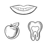 Smile, apple fruit and healthy tooth Royalty Free Stock Photos