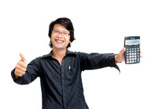 Smile asian business man showing calculator Royalty Free Stock Photo