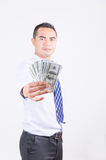 Smile asian business man showing money dollar Stock Photography