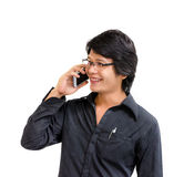 Smile asian business man  speaking mobile phone Stock Photography