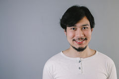 Smile Asian man with mustache and beard.