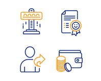 Smile, Attraction and Refer friend icons set. Payment method sign. Certificate, Free fall, Share. Vector. Smile, Attraction and Refer friend icons simple set vector illustration
