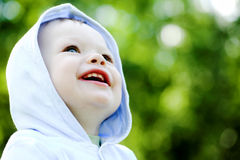 Smile baby boy in blue Stock Photography