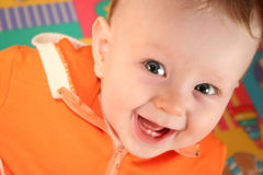 Smile baby boy with tooth Royalty Free Stock Image