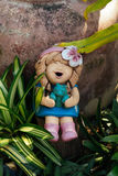 Smile baked clay. Doll funny and laughing  happiness for decorate the garden Royalty Free Stock Photos