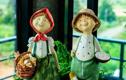 Smile baked clay doll. In my home Royalty Free Stock Image