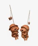 Smile baked doll fishing Stock Image