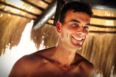 Smile beautiful man model. Summer male beauty Stock Images