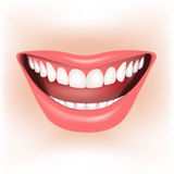 Smile. Beautiful wide smile of young woman. Vector illustration Royalty Free Stock Photo
