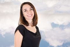 Smile beauty woman in cloud blue sky outdoor. A smile beauty woman in cloud blue sky outdoor stock images