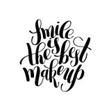 Smile is the best makeup handwritten brush lettering positive qu Stock Photo