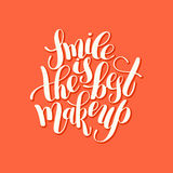 Smile is the best makeup handwritten brush lettering positive qu Stock Image