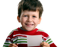 Smile boy with card for text Stock Images