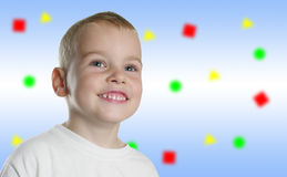 Smile boy on color background stock image