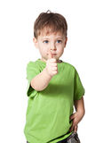 Smile boy with finger up Royalty Free Stock Photos