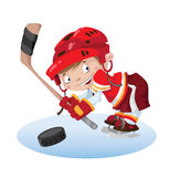 Smile boy hockey. Illustration of a smile boy hockey Stock Photography