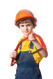 Smile boy holds handsaw Royalty Free Stock Photo
