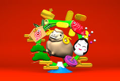 Smile Brown Sheep, New Year's Bamboo Wreath On Red Royalty Free Stock Image