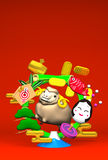 Smile Brown Sheep, New Year's Bamboo Wreath On Red Royalty Free Stock Photography