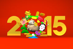 Smile Brown Sheep, New Year's Bamboo Wreath, 2015 On Red. 3D render illustration For The Year Of The Sheep,2015 Royalty Free Stock Photo