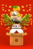Smile Brown Sheep, Rice Cake, Greeting On Red Stock Images