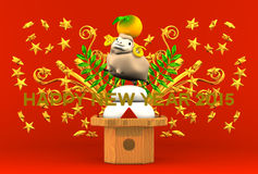 Smile Brown Sheep, Rice Cake, Greeting On Red Royalty Free Stock Photo