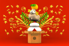 Smile Brown Sheep, Rice Cake, Greeting On Red Royalty Free Stock Images