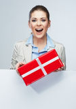 Smile Business woman hold red gift box Royalty Free Stock Photo
