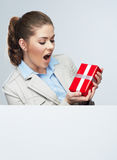 Smile Business woman hold red gift box Stock Images