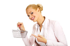Smile business woman holding small shopping basket Stock Images