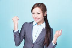 Smile business woman. Isolated on blue background, asian female Royalty Free Stock Photos