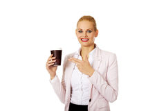 Smile business woman pointing for paper cup.  Stock Photography